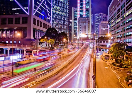 light trails on the modern city - stock photo