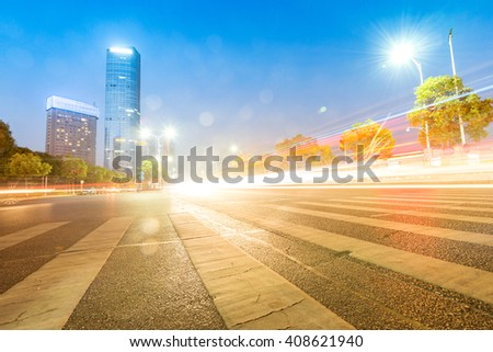 light trails on the street at dusk in shanghai,China - stock photo