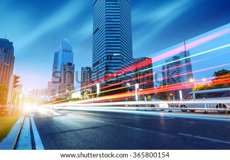 light trails on the street in Nanchang ,China. - stock photo
