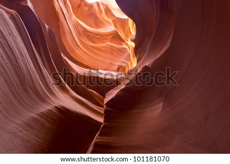 Light trickling into the canyon - stock photo