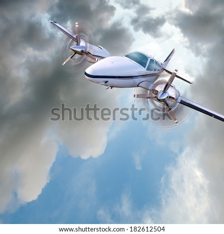 Light twin-engined piston aircraft in flight