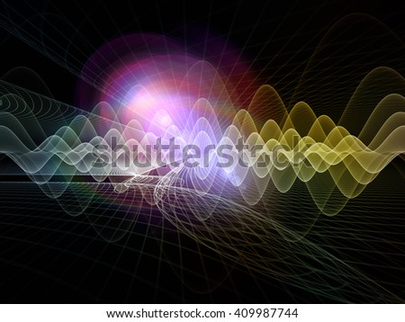 Light Waves series. Composition of light curves and sine waves with metaphorical relationship to design, science and modern technologies - stock photo