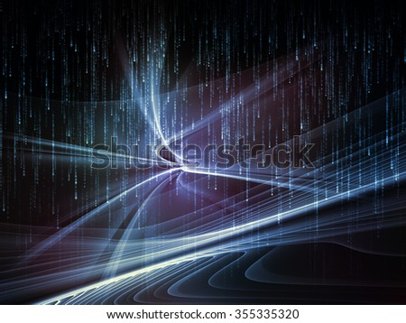 Light Waves series. Design composed of fractal waves and motion trails as a metaphor on the subject of design, science and modern technologies - stock photo