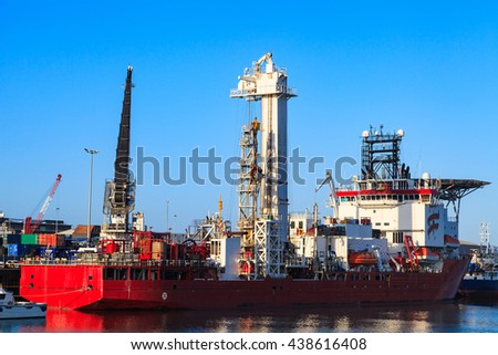 Light Well Intervention Boat (Mono Hull Vessel) - Offshore Diving Support vessel at Aberdeen harbor before going offshore - stock photo
