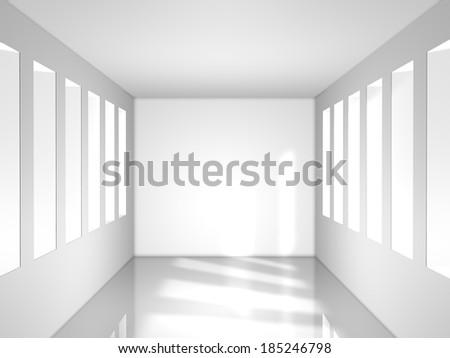 light white room with window, 3d render