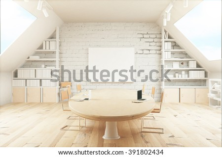 Light wooden conference room with table, chairs, windows on both sides and a small board on the wall. 3D Render - stock photo