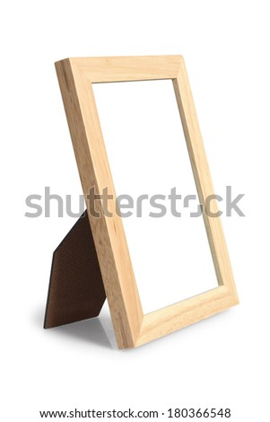 Light wooden picture frame with stand and room for image on white background