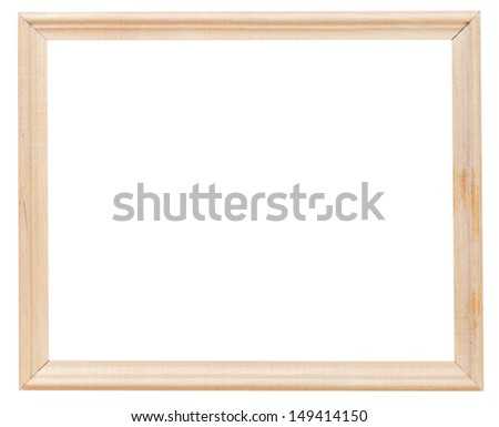 light wooden simple picture frame with cutout canvas isolated on white background - stock photo