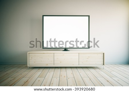 Light wooden TV cabinet with blank white TV in room interior. Mock up, 3D Render - stock photo
