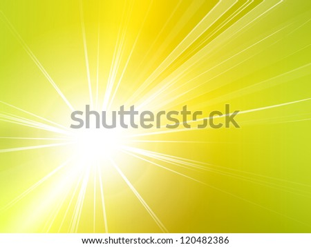 Light yellow green starburst background - abstract sun and rays