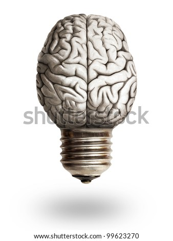 lightbulb and brain - stock photo