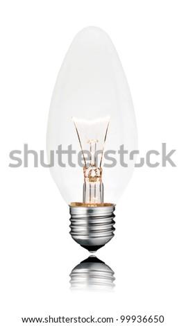 Lightbulb - Candle Shape Isolated on White Background with reflection. Switched ON - stock photo