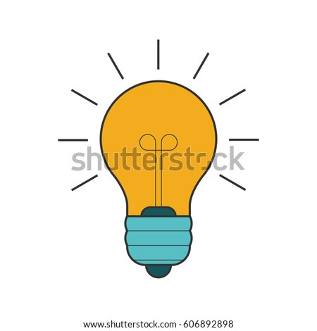 Lightbulb flat line icon on white background