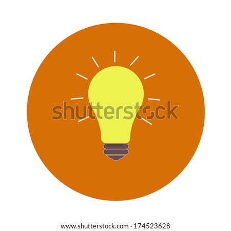 Lightbulb idea concept flat design and long shadow. Raster version - stock photo