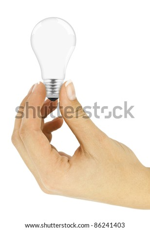Lightbulb in hand isolated on white