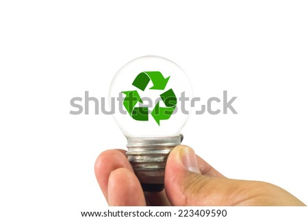 Lightbulb in hand with recycle inside