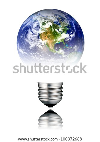 Lightbulb in the Shape of the  World - Continent America. Screw Round Bulb with Reflection Isolated on White Background - stock photo