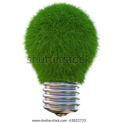 lightbulb made of green grass. isolated on white - stock photo