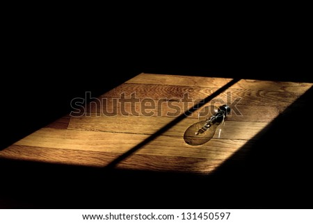 Lightbulb on wooden floor