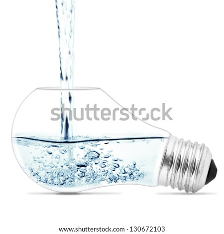 Lightbulb with a water inside. Abstract concept