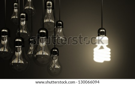 lightbulbs on gray background, idea concept - stock photo