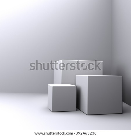lighted boxes in a dark room - stock photo
