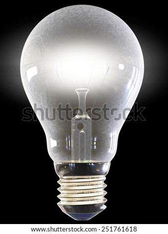 lighted bulb 3d rendering with clipping path