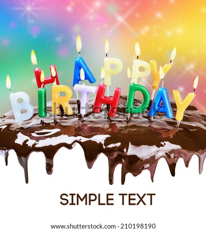 lighted candles on a birthday cake. Bottom white space for text or congratulations. text font from open sources, free license of use - stock photo