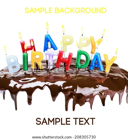 lighted candles on a birthday cake isolated on white background. Empty white space above and below for sample background and text - stock photo