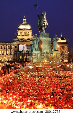 Lighted Candles to commemorate the late ex-president of the Czech Republic Vaclav Havel, Prague 2011