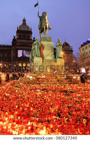 Lighted Candles to commemorate the late ex-president of the Czech Republic Vaclav Havel, Prague 2011 - stock photo