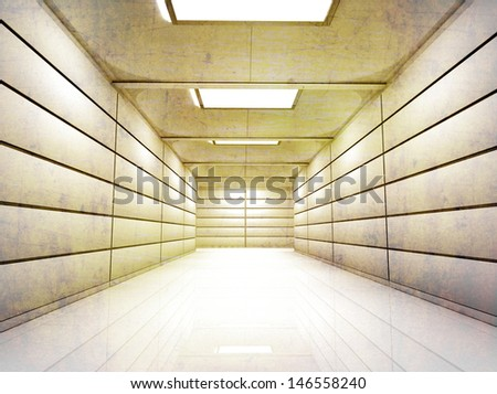 Lighted Corridor Hallway with Glossy walls and floor textured - stock photo