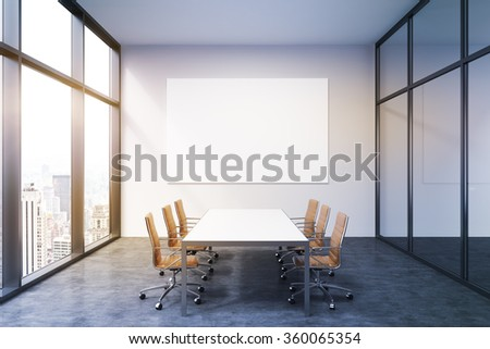 Lighted meeting room in office building, French window to the left with New York view, big white table and six brown leather armchairs around. White board on the back wall. Concept of negotiations - stock photo