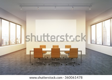 Lighted spacious meeting room in office building, windows on both sides, New York view, big table and six brown leather armchairs around it. White board on the back wall. Concept of negotiations - stock photo
