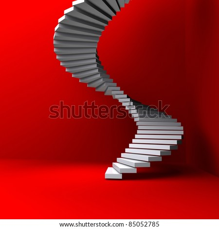 lighted stairs in a dark red room - stock photo