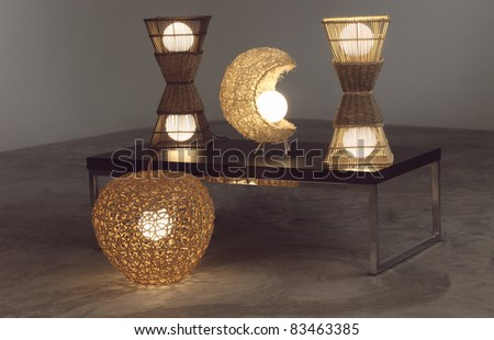 Lighten table lamps which made of rattan and bamboo - stock photo
