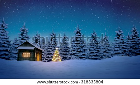 lightened christmas tree in front of wooden cabin in snow at night with pine trees in background. - stock photo