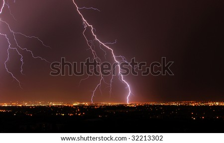 Lightening in the sky at city Edmonton, Alberta, Canada