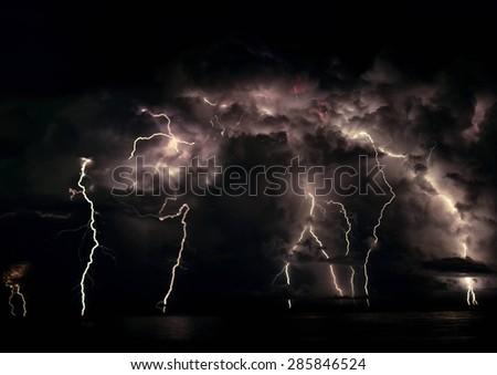 Lightening Strikes at Old Bar Beach NSW Australia - stock photo