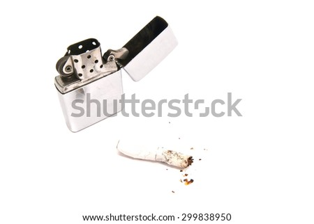 lighter and cigarette butt with filter on white background closeup - stock photo