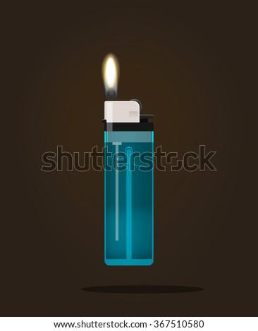 Lighter icon illustration, lighter with fire flame, hand lighter flaming, blue pocket burning lighter, flat realistic modern design isolated on black dark background - stock photo