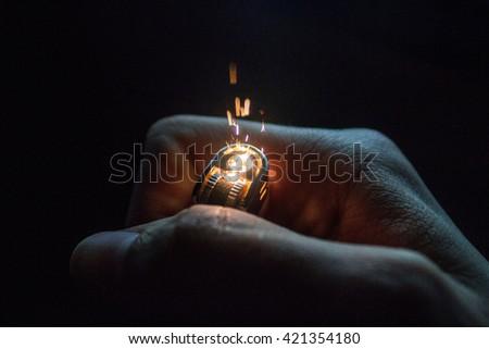 Lighter Sparks - stock photo