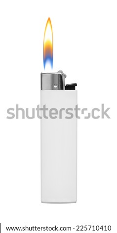 Lighter with fire on white background - stock photo