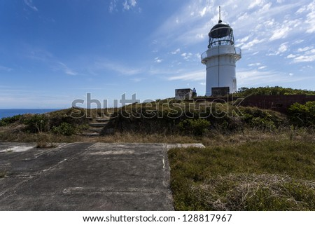 Lighthouse/ a lighthouse is the Hauraki Gulf, Auckland, New Zealand