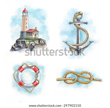 Lighthouse, anchor, lifesaver and knot. Hand-painted digital illustration. Included clipping path allows to separate objects from background. - stock photo