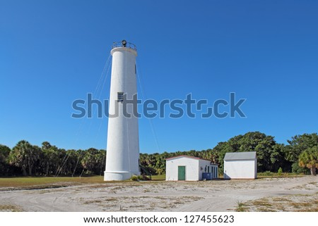 Lighthouse and associated buildings at the north end of Egmont Key, a small island near the mouth of Tampa Bay, Florida
