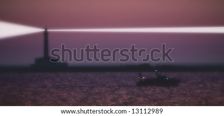 Lighthouse and boat on purple landscape