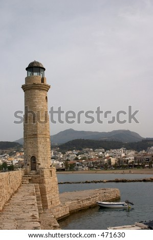 Lighthouse and boats, Rethymno Venetian harbour, Crete