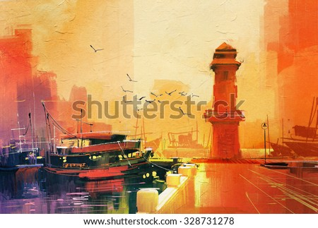 lighthouse and fishing boat at sunset,oil painting style - stock photo