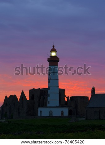 lighthouse and ruins of monastery, Pointe de Saint Mathieu, Brittany, France